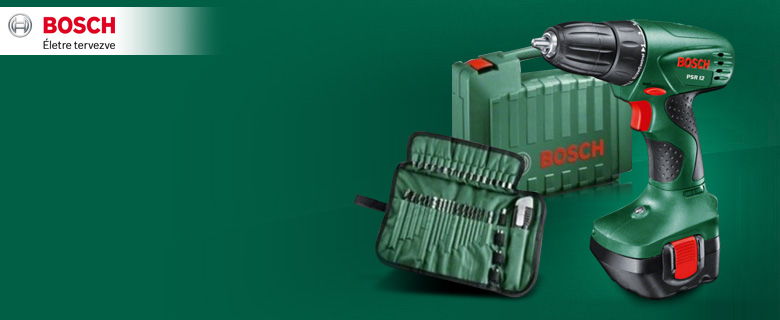 Bosch PSR 12 akkus fúró/csavarozó <br/>+ 39 db tartozék, 2 akku, koffer